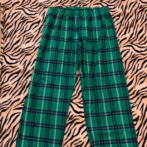 Green Plaid Flannel PJ Pajama Lounge Pants